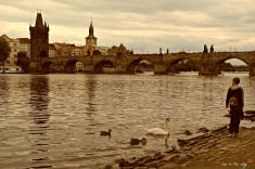 Prague in sepia, the Vltava river.