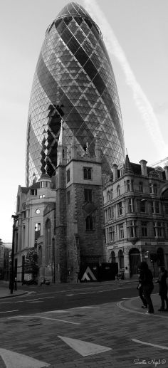 St Andrew Undershaft with the Gherkin in the back. Old meets new.